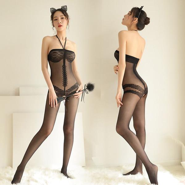 Sexy Lingerie Sıcak Kostümler İç Pijama Açık Kasık Çorap çorap Göz Maskesi Kırbaç Paddle Yetişkin Oyunları Içinde Kadınlar Için x7570