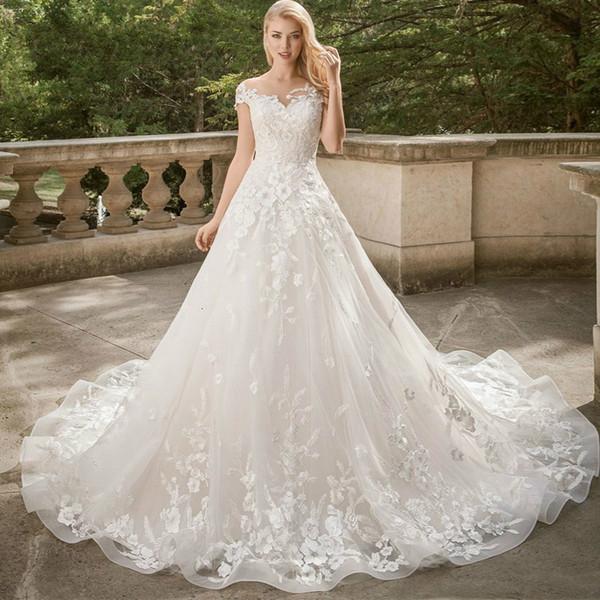2020 Vintage Lace Wedding Dresses Plus Size Cap Sleeves Appliques Elegant  Bridal Gowns Lace Up Puffy Ball Gowns Vestido De Novia Princess Ball Gown  ...