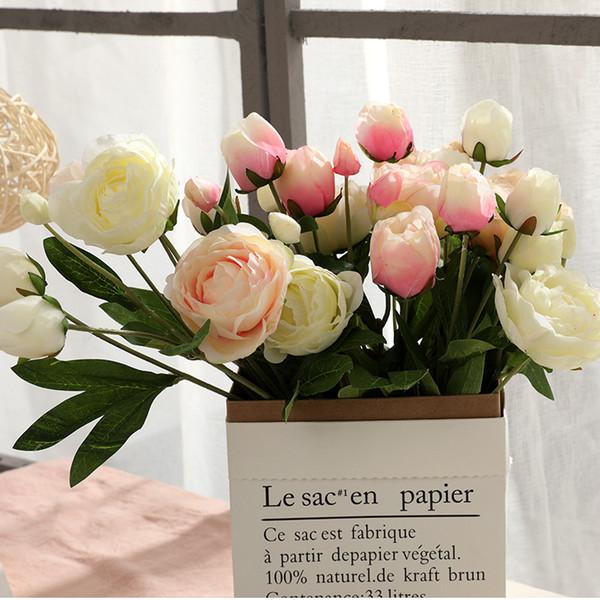 4 Grandi / Bouquet Peonie Fiori artificiali Peonie di seta Bouquet 4 Fiori di gemma Decorazione domestica di nozze Fiore di rosa peonia finto