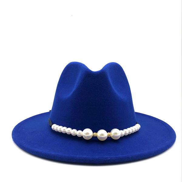 New Felt Hat Women Fedora Hats with Pearls Belt Vintage Trilby Caps Wool Fedora Warm Jazz Hat Chapeau Femme feutre Panaman hat D19011102