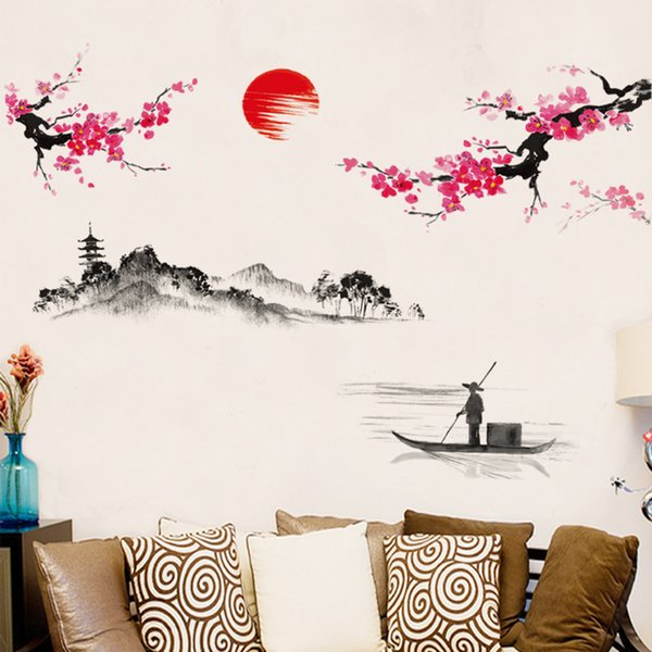 Plum Sunrise landscape Chinese style art Wall Stickers Living room Bedroom background for home decoration Mural Decals wallpaper D19010902
