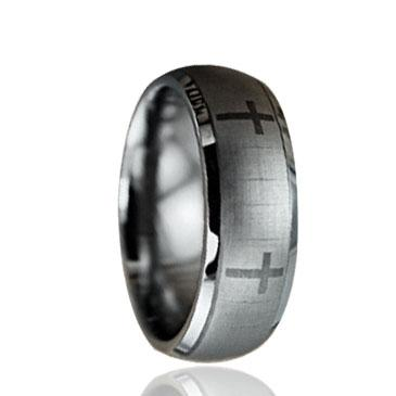 Crosses laser engraving Tungsten Ring wholesales 8mm for men