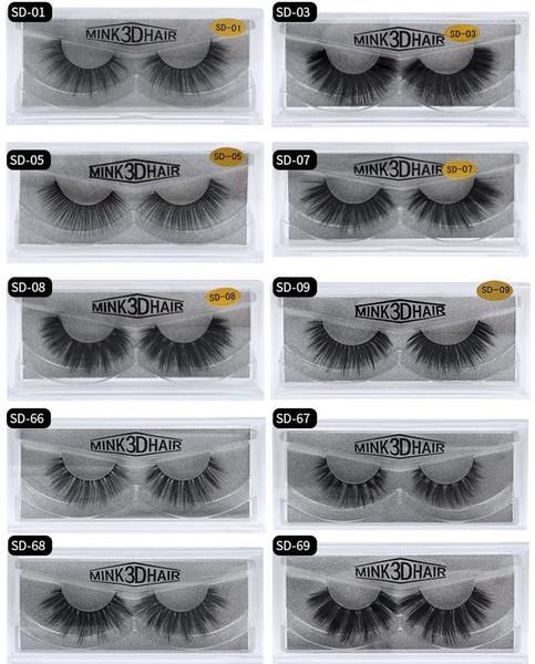 D Mink False Eyelash 100% Real Siberian Full Strip Fake Eyelash Long Individual Soft Natural Thick Eyelashes Mink Lashes Extension DHL Ship