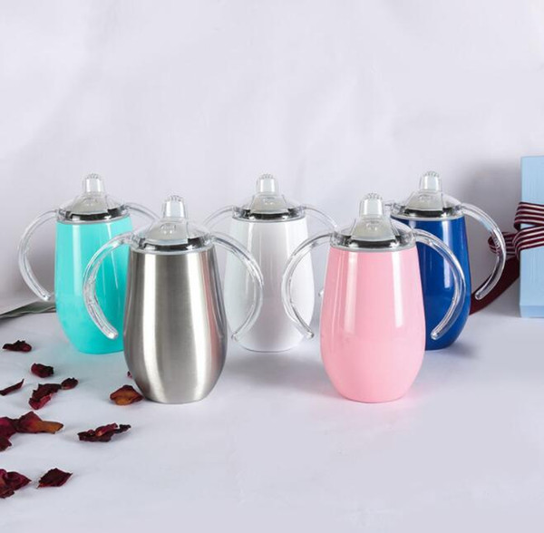 Stainless Steel cup 8oz 14oz Pacifier Sippy kids drinking Mug stainless steel Insulated sippy cup with handle milk bottle KKA6852