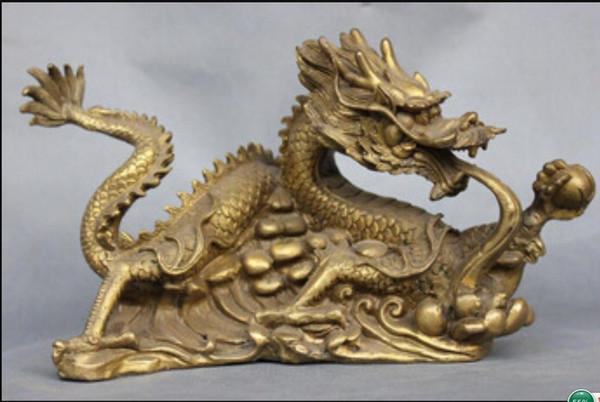 STATUA DI RAME 9 '' China Fengshui Zodiac Dragon Bronze Statue