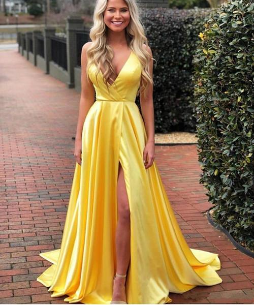 V profond Soirée cou sexy robes longues Sweep fendus Prom Cheap Robes Une ligne pas cher robe de mariée robes de soirée