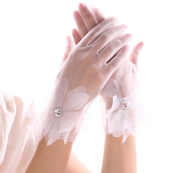Solid color new Korean wedding bride wedding dress elegant white lace rhinestone short thin gloves