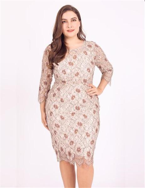 Artı Boyutu Kadınlar Yaz Elbiseler O-Boyun 3/4 Kollu Dantel Hollow Out Elbise Kadınlar Flora Baskılı Günlük Elbiseler Kadın Giysileri
