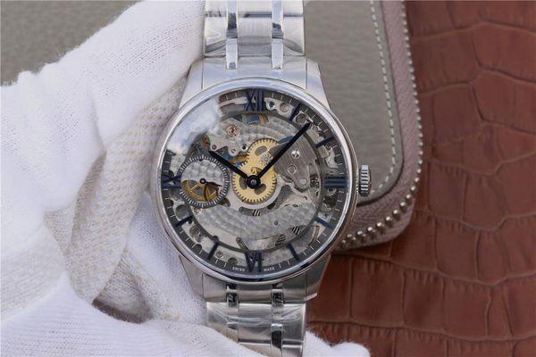 Relógio de mão dos homens, tamanho 42mmX11mm, importado da Suíça 6497-1 movimento, cinta de aço opcional ou pulseira de couro, 30 metros à prova d'água