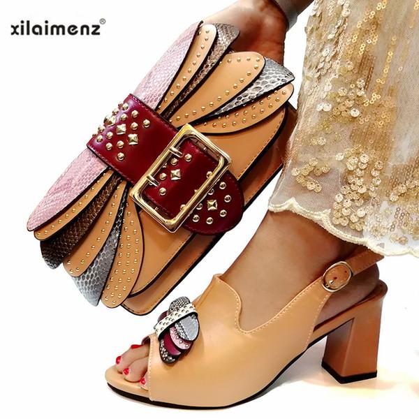 2019 Afrika Özel Tasarım Bayan Ayakkabı ve Çanta Setleri Eşleşen Çanta ile Haki Renk İtalyan Ayakkabı Rahat Topuklu Kadın Ayakkabı