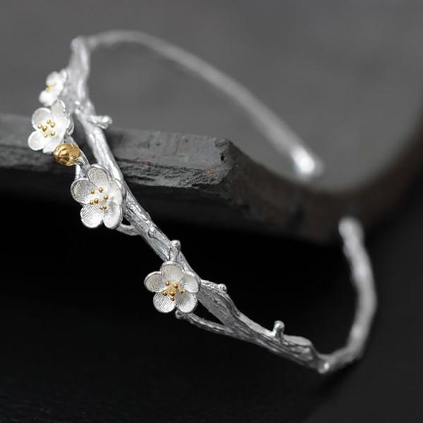 Hochwertige s925 Silber Armband weibliche Öffnung einstellbar kreative Pflaume handgefertigt Silber Regen Blumenkranz Retro Kunst klassisch