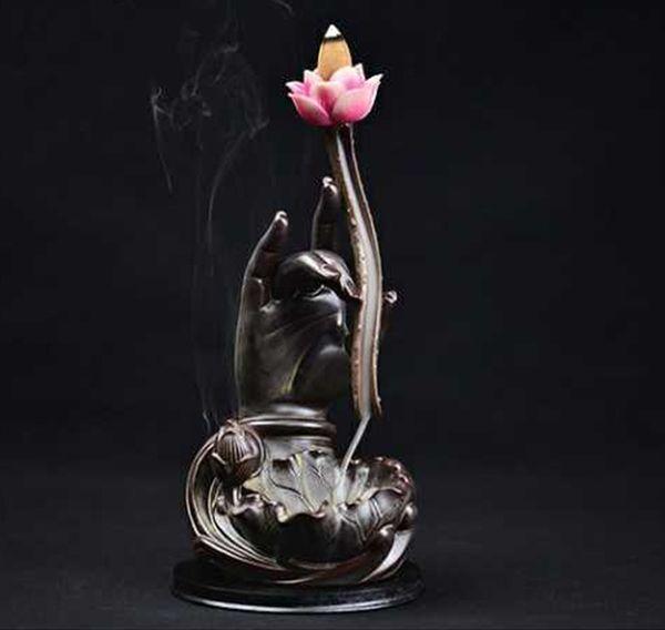 Lotus Backflow Incense Burner Ceramic Guanyin Buddha Hand Sandalwood Incense Censer Purple Clay Mountain Line Incense Burner