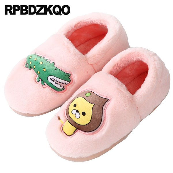 44 bedroom 11 house guest home large size winter slides ladies slipper big women slip on shoes fur animal cartoon pink indoor