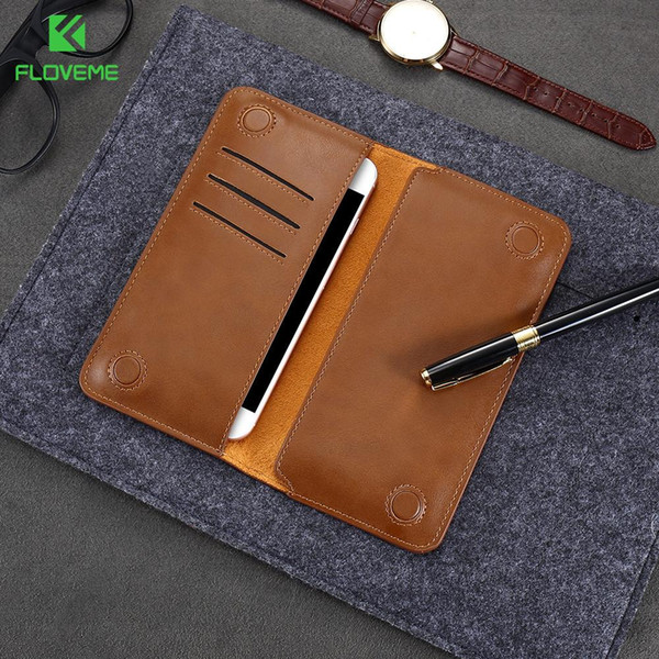 FLOVEME Retro Leather Wallet Pouch Case For LG G5 G4 G3 Fashion Universal Mobile Phone Bag Case For iPhone Samsung Xiaomi