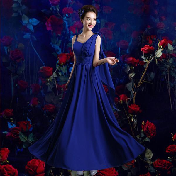 vendita all'ingrosso Royal Blue Bridesmaid Dress 6 stili 4 colori Chiffon bianco viola chiaro Abiti da festa di nozze