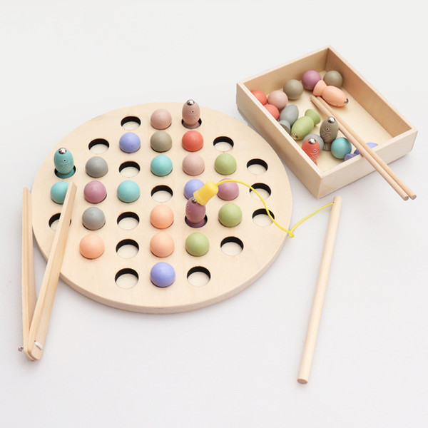 Montessori Toys Educational Wooden Toys for Children Early Learning Kids Clip Beads Fishing Multi-functional learning Toy