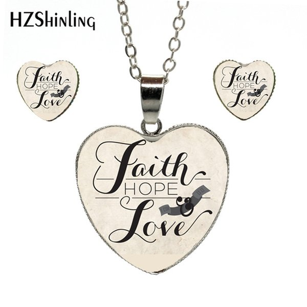 Fashion Fresh and Lovely Style Quotes Faith Hope Love Silver Alloy Hand  Craft Heart Jewelry Set Gifts for Women Accessories