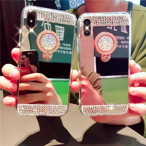 Caso Holder diamante scintillio Bling morbida specchio anello per l'iphone 11 pro x xs max xr 6 7 8 più Samsung S10 S9 S8 S7 S6 Inoltre nota 9 8 10 Coperchio