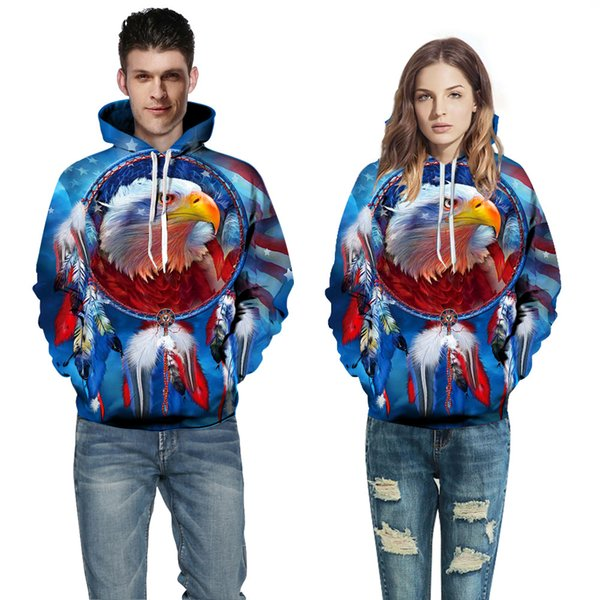 2018 European and American Couple Wear Sweater Eagle 3D Digital Printing Hat Baseball Suit Autumn Winter Wear A0368