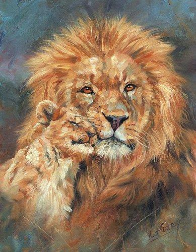 Artwork-lion-love-Unframed Modern Canvas Wall Art for Home and Office Decoration,Oil Painting ,Animal painatings ,frame.
