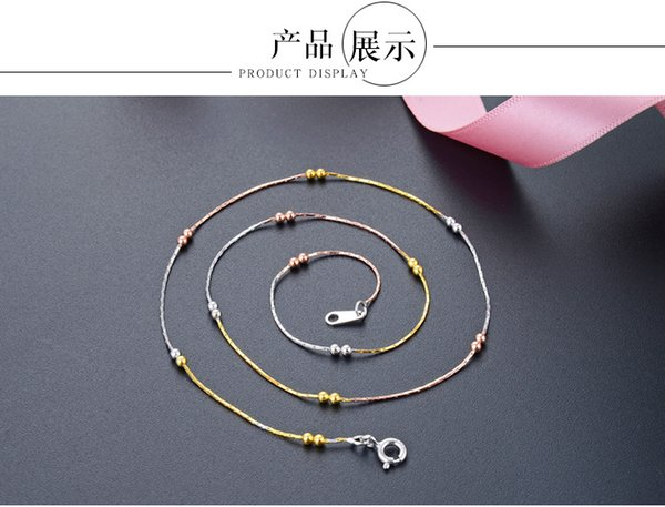 S925 sterling silver necklace women's bamboo bag 2.0 double beads color trend necklace jewelry