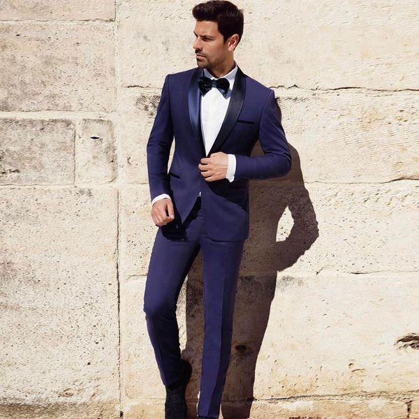 Navy Blue Slim Fit Mens Prom Suits Shawl Lapel Wedding Suits For Men  Groomsman Tuxedos Two Pieces Blazers Jacket+Pants+Bow Tie Mens Tuxedos Suit  Vest