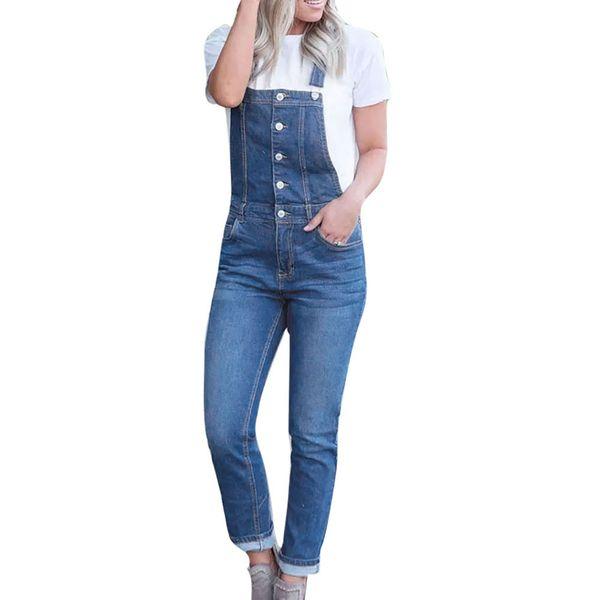 Women Casual Denim Bib Slim Pants Overalls Jeans Straps Demin Trouser Hole Zipper Fly Jumpsuit #0225