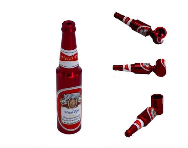 Aluminiumlegierung Bierflasche Metall Pfeife Handpfeife 2,5 zoll 68mm Bier Muster Metallrohre Mini Hammer Tabak Kraut Rohre