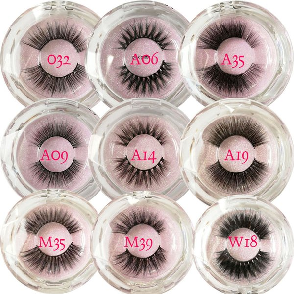 New styles popular 3d mink eyelashes pink glitter round box customized label High quality natural style 3d min hair lashes with cheap price