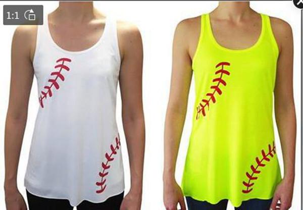 Frauen Tank Tops Sommer neuesten Design Baseball Druck ärmelloses T-Shirt Strand Shirts weiß gelb Weste Tees