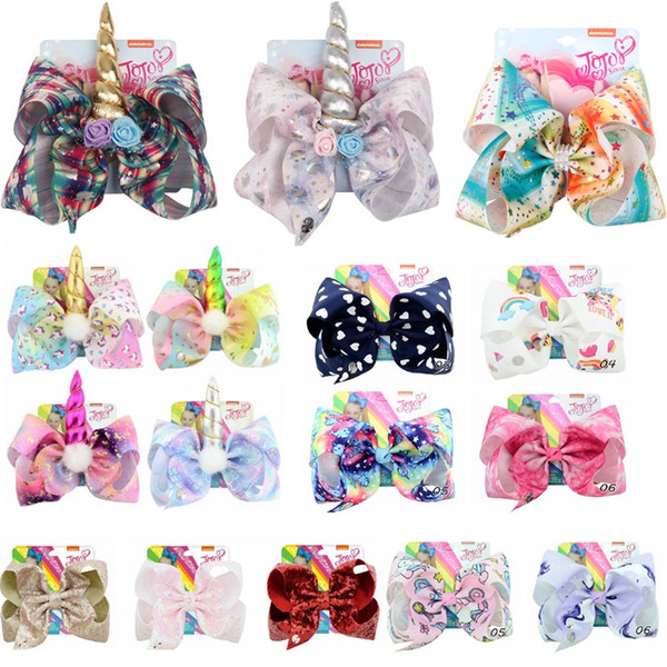 best selling 8 inch JOJO bow girl hair bows Flowers Rainbow Mermaid Unicorn Design Girl Clippers Girls Hair Clips Hair Accessory