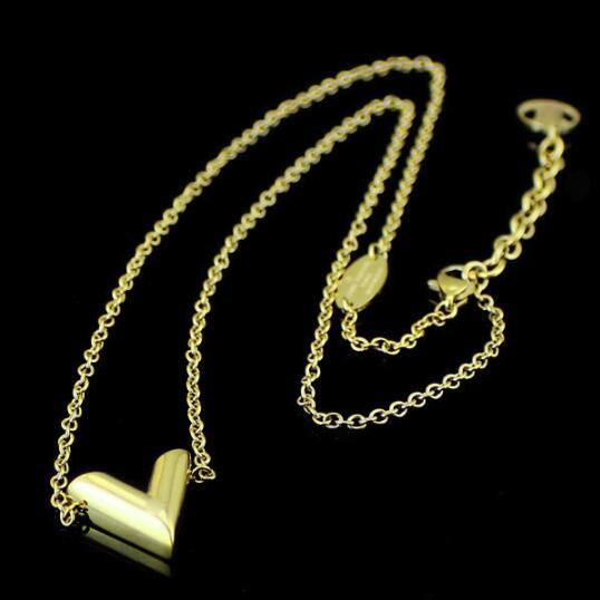 Lange halsketten des Großbuchstaben V Halsketten-Antike-Gelbgold-Silber rosafarbenes Gold überzog Frauen-Mann-heiße Art und Weiseliebe Schmuck