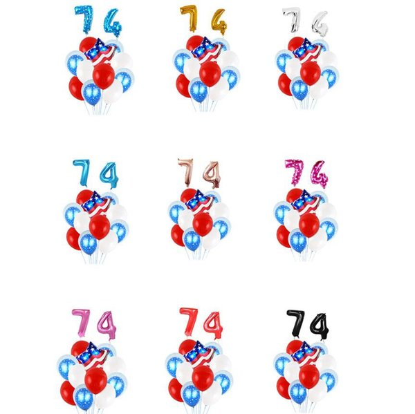 4th of July Balloon 9 Styles USA Independence Day Decoration Balloon Set Latex Foil Balloon American Party Decorations OOA6951