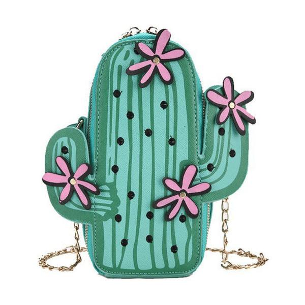2018 Cactus Small Chain Bucket Bag Women Green Shoulder Bag Designer Zipper Messenger Bag Crossbody Female Cute Purses Handbags Y19061903