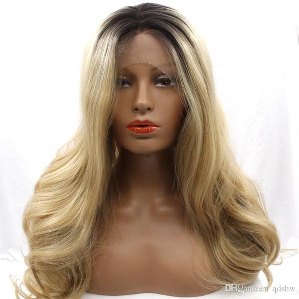 Ombre pizzo parrucca anteriore sintetica Biondi Colore di alta qualità 180 Densità dei capelli fibra onda lunga corpo sintetico pizzo anteriore parrucche per Nero Bianco Wom