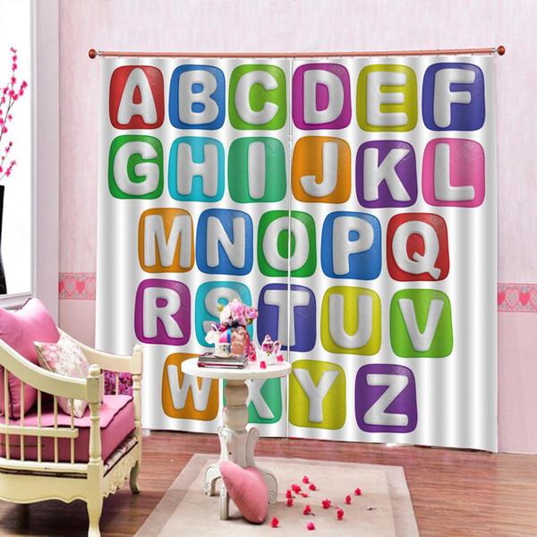 New Kids Занавеска для душа Learning 26 Английский алфавит Занавеска для ванной в европейском стиле Затемненные шторы