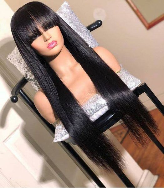 Straight Lace Front Wig Peruvian Virgin Hair Full Fringe Wig Human Hair Glueless Full Lace Wig With Bang Bleached Knots For Black Women