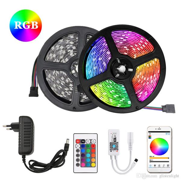 RGB LED Strip 5m 10m 15m impermeabilizzano della luce al neon 2835 / M flessibile di illuminazione del nastro Tape 5050 DC12V 30Leds controller Adapter Set