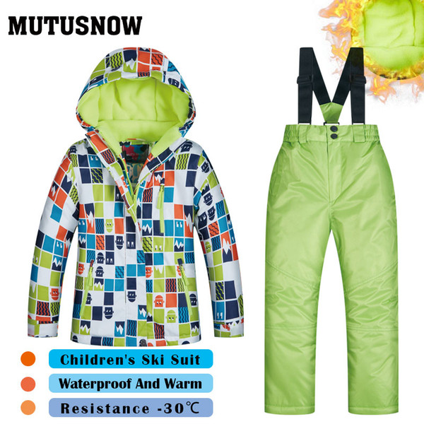 MUTUSNOW Ski Suit Boys Brands High Quality Windproof Waterproof Snow Super Warm Jacket+Pants Child Winter Snow Snowboard Suit Children's LGG