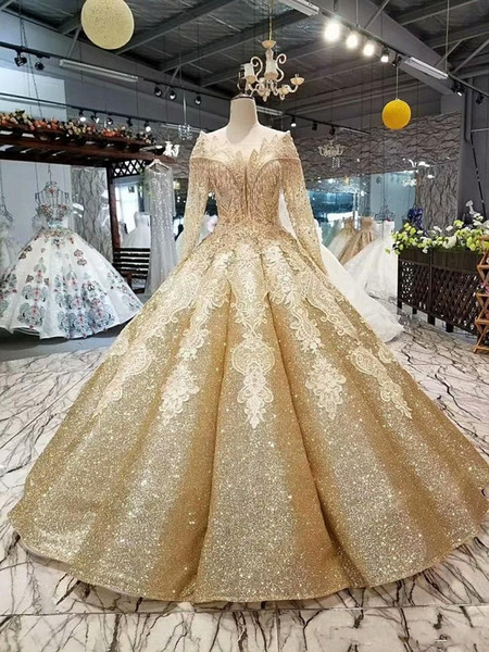 Gold Sparkly Sequined Ball Gown Evening Dress Luxury Dubai Arab Long Sleeves Beaded Off Shoulder Corset Back Princess Tssels Prom Gown