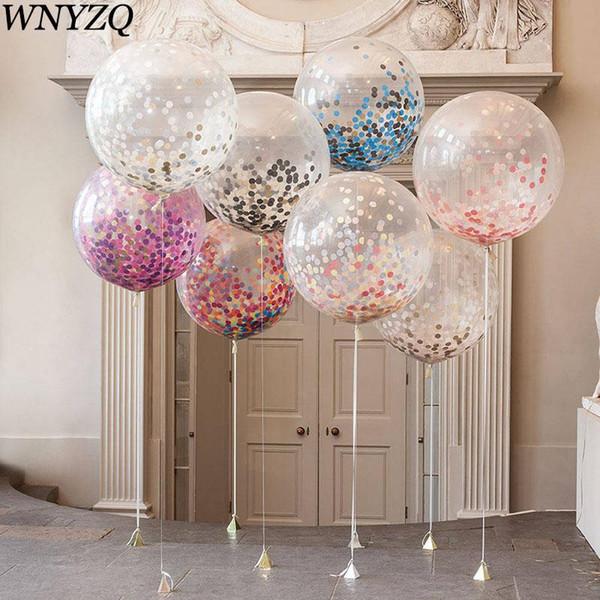 36 Polegada Grande Balão Decoração de Casamento Confetti Balão para Festa de Aniversário Festival Suprimentos Chuveiro de Bebê Bola de Látex Transparente Inflável