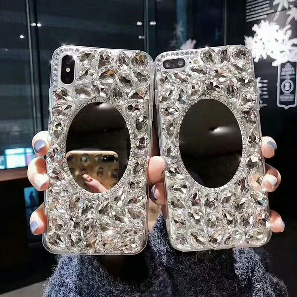 luxury fashion diamond mirror beautiful cellphone case cover for iphone 6/6s 7/8 xs max nice gift hot sale best price