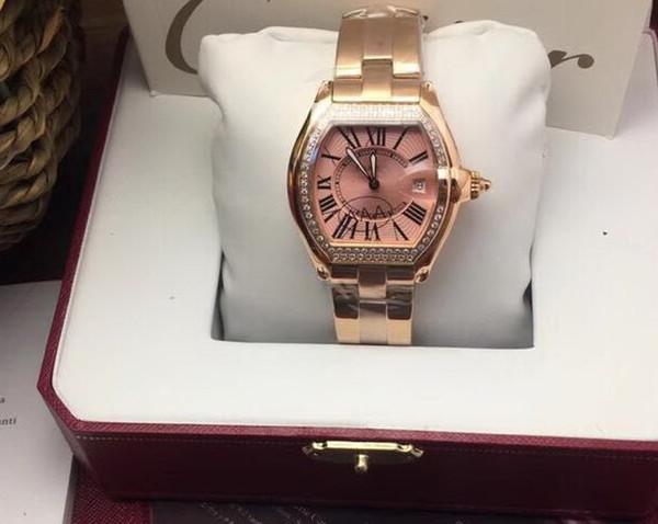 Diamante BEZEL CUARZO FECHA CHINA 2019 BUENA Oro rosa CINTURÓN GRANDE 37 MM CAJA promoción hombre reloj venta por mayor nuevo acero inoxidable para hombre