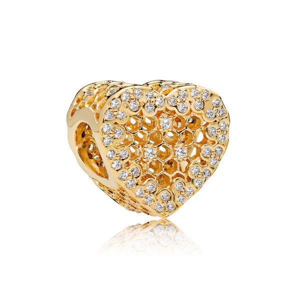 NEW 100% 925 Sterling Silver 1:1 Authentic 767039CZ SHINE HONEYCOMB LACE CHARM Bracelet Original Women Jewelry