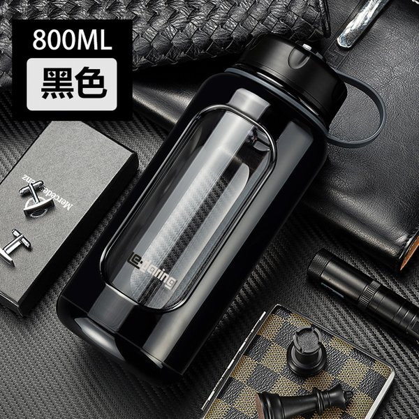 1000ml Plastic Glass Large Water Bottle Double Heat-resistant Cup, Portable Anti-smashing Anti-breaking Cup For Men And Women Q190525