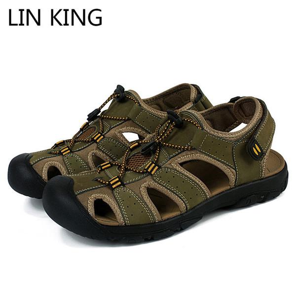 LIN KING Sandalias de gladiador de cuero genuino para hombre de verano de calidad superior Zapatos para hombre al aire libre Sandalias de playa cómodas de Roma talla grande 50