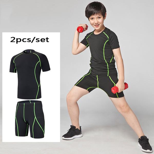 HOT Kids Compression Laufen Set Shorts Shirts Jugend Jungen Survêtement Fußball Fußball Basketball Sport Dünne Strumpfhosen Leggings # 704494