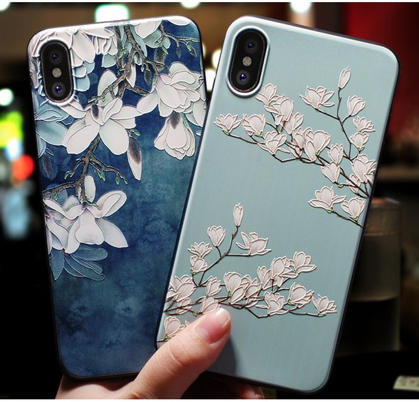 For iPhone Xs Max Xr Case 3D Flowers Soft Silicone Rubber Cover iPhone 5 5S Se 6 6S 7 8 Plus X