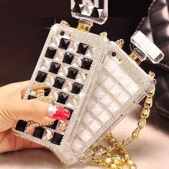 For iPhone X XS max XR 7 8 plus 6 6S plus 5 SE Case Luxury Rhinestone Gem Perfume Bottles Phone Cover With Chain Silicone Cover