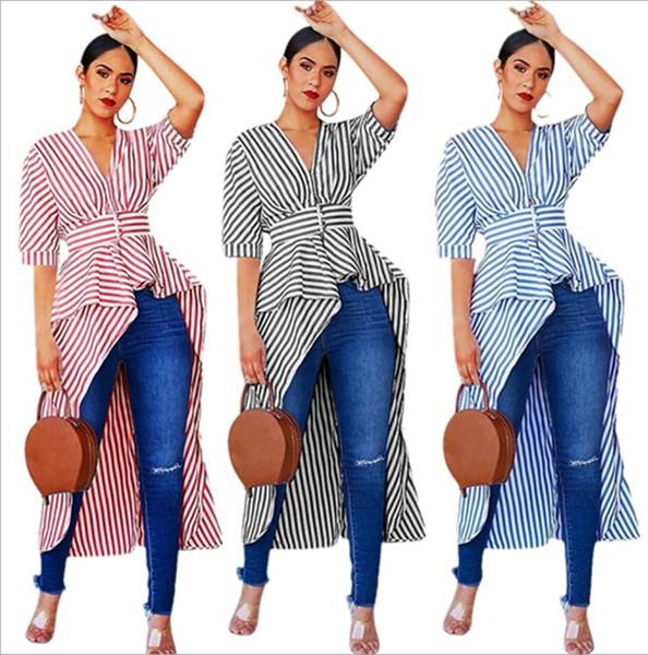Bayan Bluzlar one piece set seksi T-Shirt çizgili Yaz için Yüksek Kalite Ünlü Kısa Kollu t-shirt Kadın Moda kadın giyim klw0924